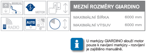 Giardino max rozměry a možnosti ovládání