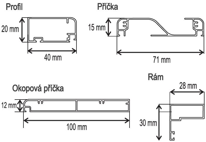 DE 40x20 LUX + RÁM profil, příčka, okop, rám