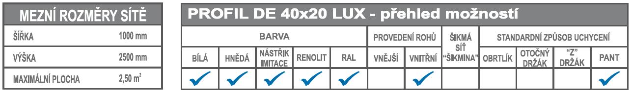 DE 40x20 LUX mezní rozměry a možnosti