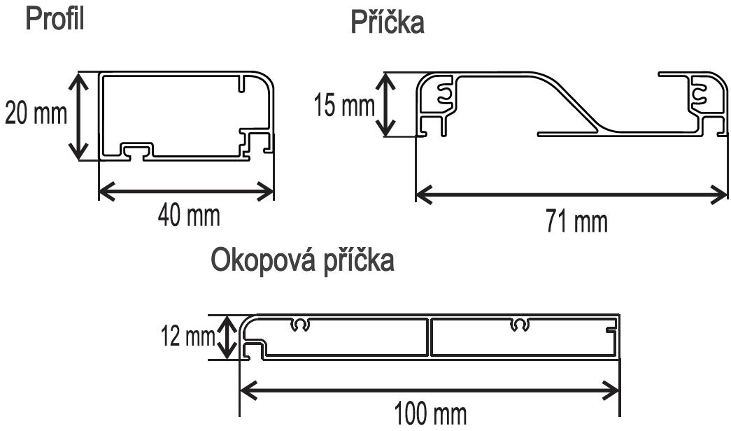 DE 40x20 LUX profil, příčka, okop