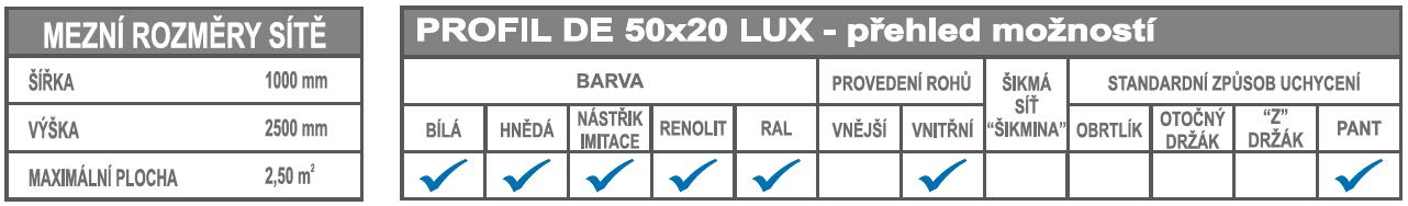 DE 50x20 LUX mezní rozměry + možnosti