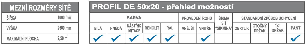 DE 50x20 mezní rozměry + možnosti
