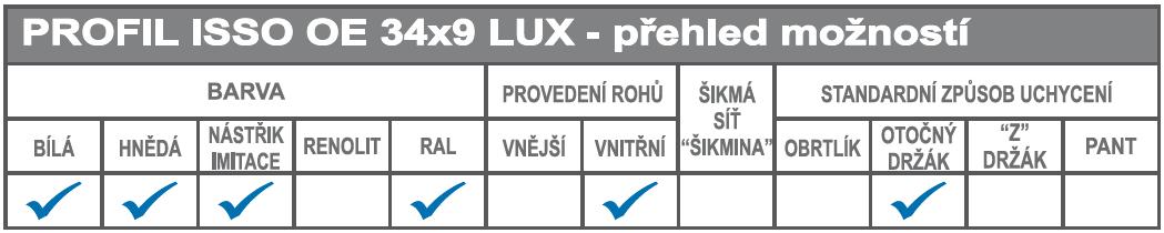 ISSO OE 34x9 LUX přehled možností