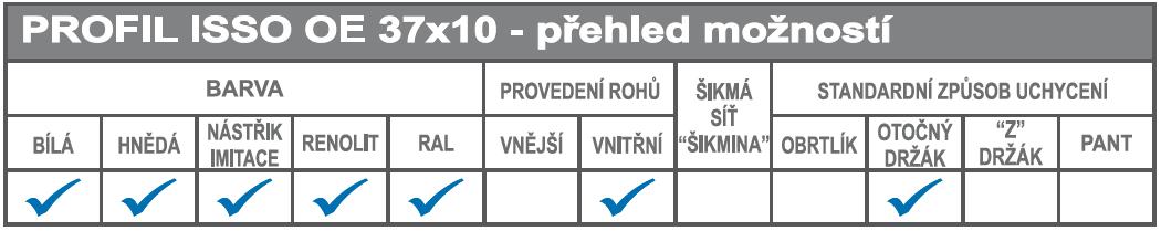 ISSO OE 37x10  přehled možností