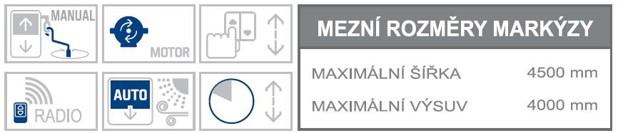 Union L max rozměry a možnosti ovládání